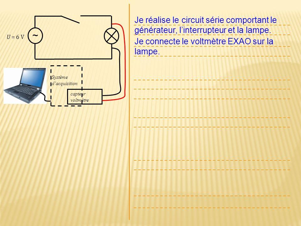 U = 6 V ~ Je réalise le circuit série comportant le générateur, linterrupteur et la lampe. Je connecte le voltmètre EXAO sur la lampe. Système dacquis