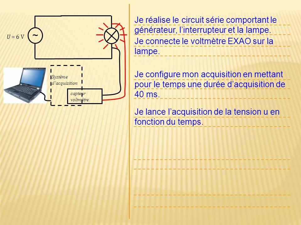 U = 6 V ~ Je réalise le circuit série comportant le générateur, linterrupteur et la lampe. Je connecte le voltmètre EXAO sur la lampe. Je configure mo