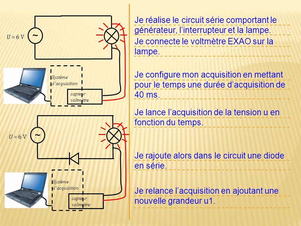 Je réalise le circuit série comportant le générateur, linterrupteur et la lampe. Je connecte le voltmètre EXAO sur la lampe. U = 6 V ~ Je configure mo