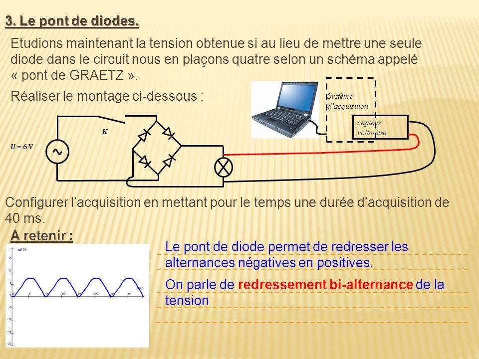 3. Le pont de diodes. U = 6 V K Etudions maintenant la tension obtenue si au lieu de mettre une seule diode dans le circuit nous en plaçons quatre sel