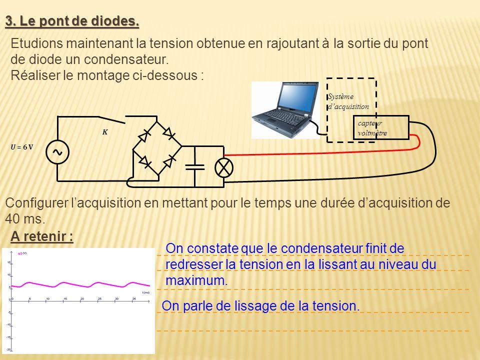 3. Le pont de diodes. U = 6 V K Etudions maintenant la tension obtenue en rajoutant à la sortie du pont de diode un condensateur. Réaliser le montage