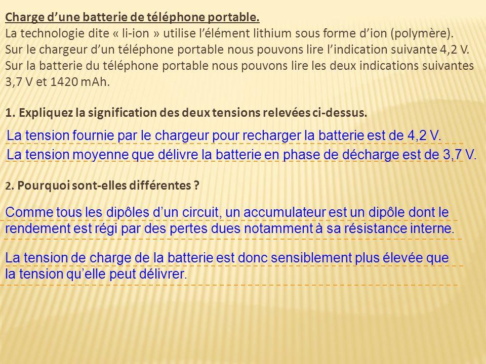 Charge dune batterie de téléphone portable. La technologie dite « li-ion » utilise lélément lithium sous forme dion (polymère). Sur le chargeur dun té