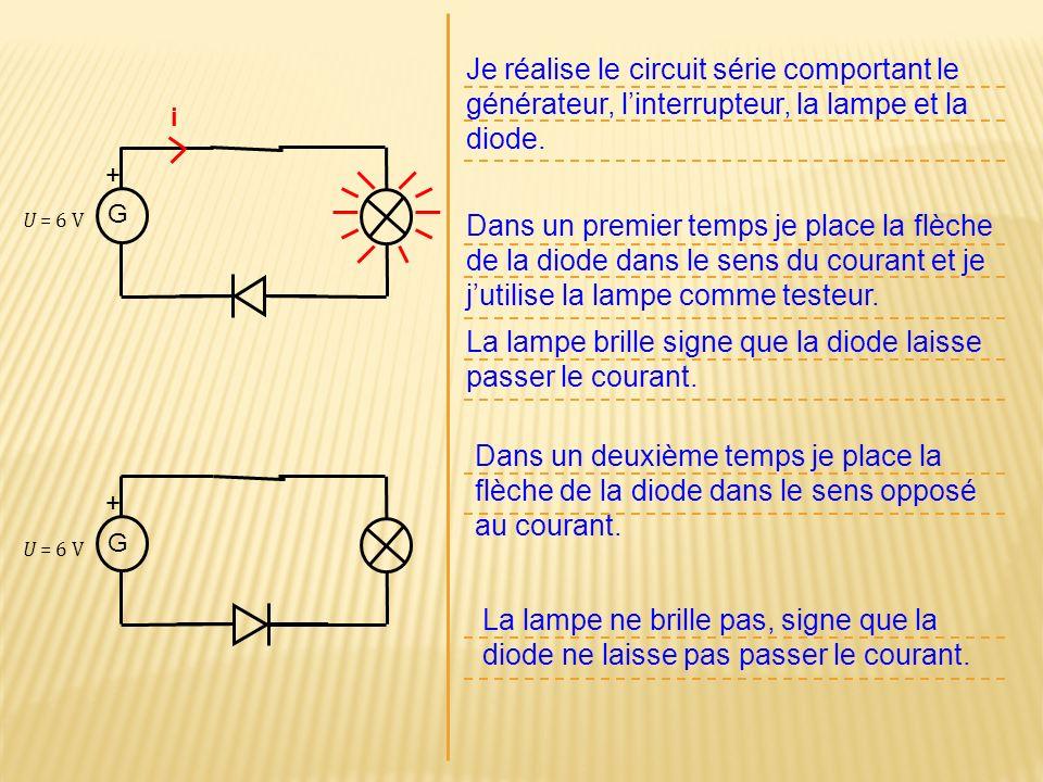 G + Je réalise le circuit série comportant le générateur, linterrupteur, la lampe et la diode. Dans un premier temps je place la flèche de la diode da