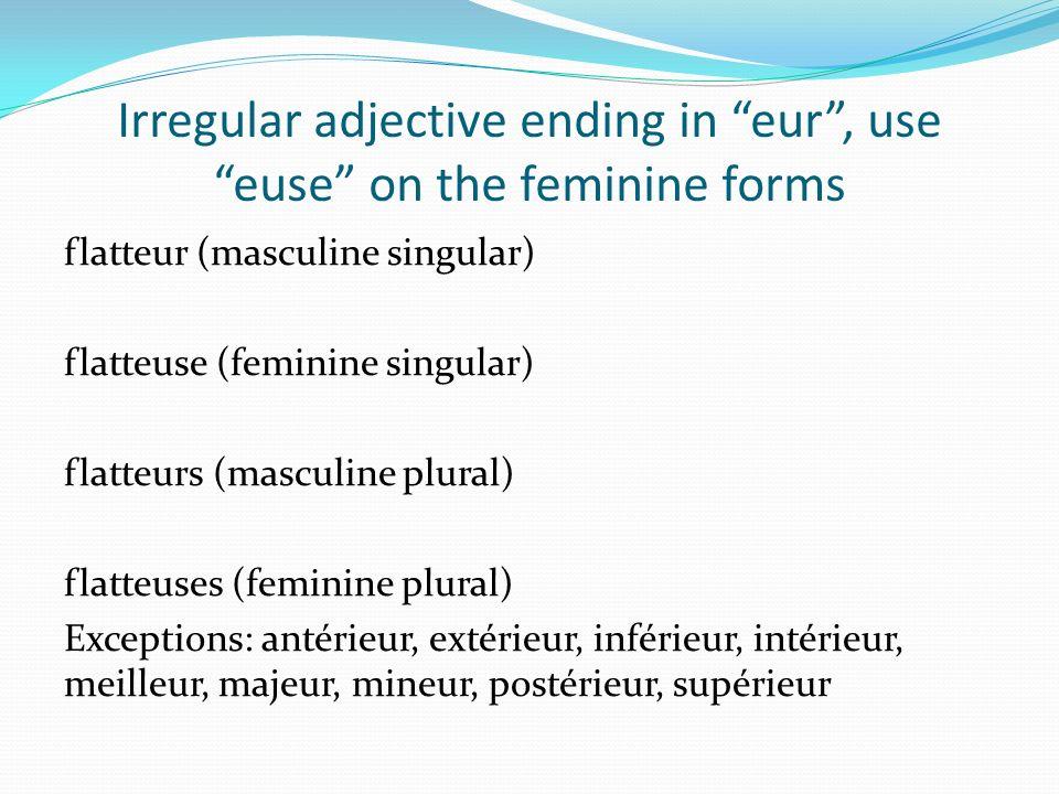 Irregular adjective ending in eur, use euse on the feminine forms flatteur (masculine singular) flatteuse (feminine singular) flatteurs (masculine plural) flatteuses (feminine plural) Exceptions: antérieur, extérieur, inférieur, intérieur, meilleur, majeur, mineur, postérieur, supérieur
