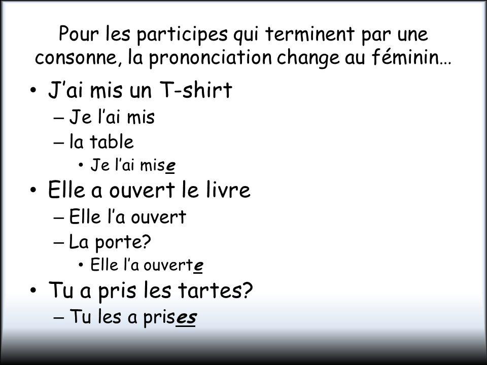 Pour les participes qui terminent par une consonne, la prononciation change au féminin… Jai mis un T-shirt – Je lai mis – la table Je lai mise Elle a