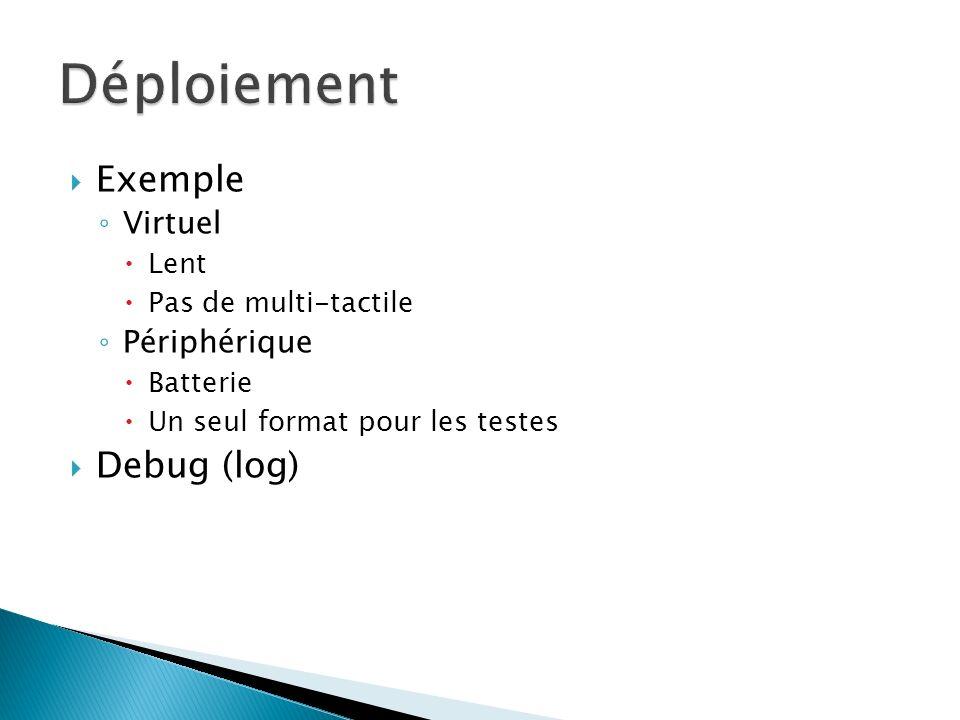 Exemple Virtuel Lent Pas de multi-tactile Périphérique Batterie Un seul format pour les testes Debug (log)