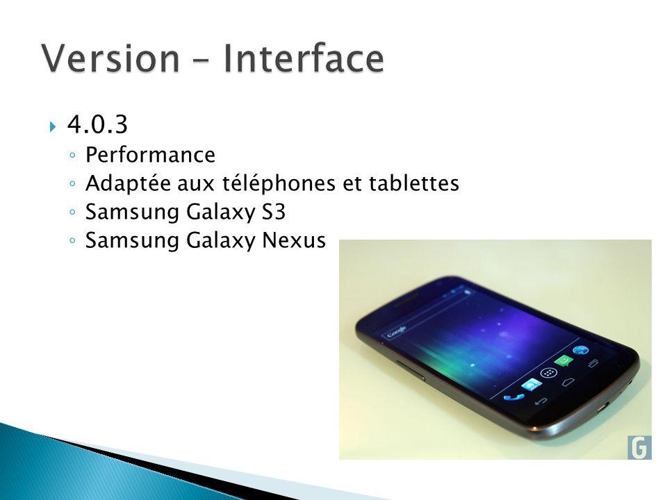 4.0.3 Performance Adaptée aux téléphones et tablettes Samsung Galaxy S3 Samsung Galaxy Nexus