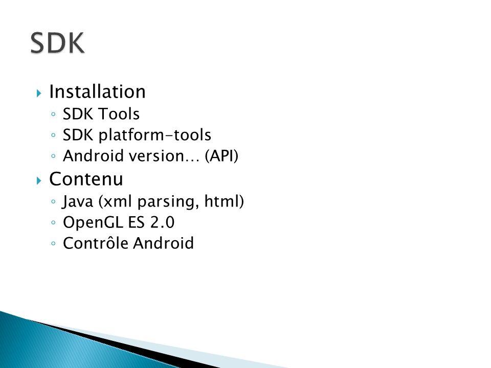 Éclipse Android Developpement Tools : ADT Structure du projet Manifest.xml APK http://developer.android.com/index.html