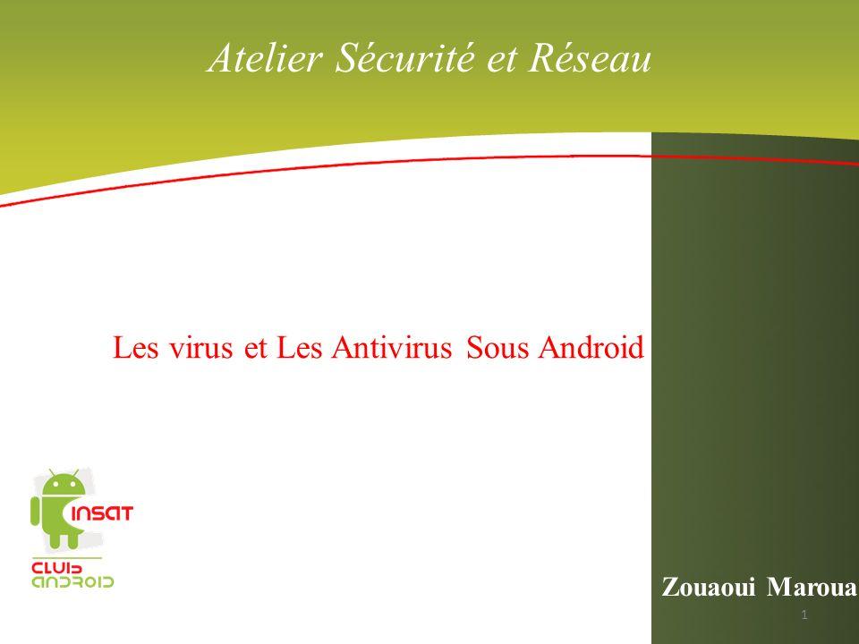 Atelier Sécurité et Réseau Les virus et Les Antivirus Sous Android Zouaoui Maroua 1