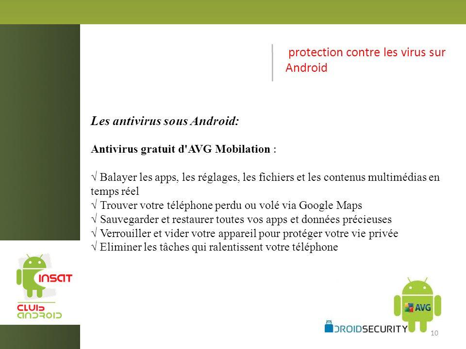 protection contre les virus sur Android Les antivirus sous Android: Antivirus gratuit d AVG Mobilation : Balayer les apps, les réglages, les fichiers et les contenus multimédias en temps réel Trouver votre téléphone perdu ou volé via Google Maps Sauvegarder et restaurer toutes vos apps et données précieuses Verrouiller et vider votre appareil pour protéger votre vie privée Eliminer les tâches qui ralentissent votre téléphone 10