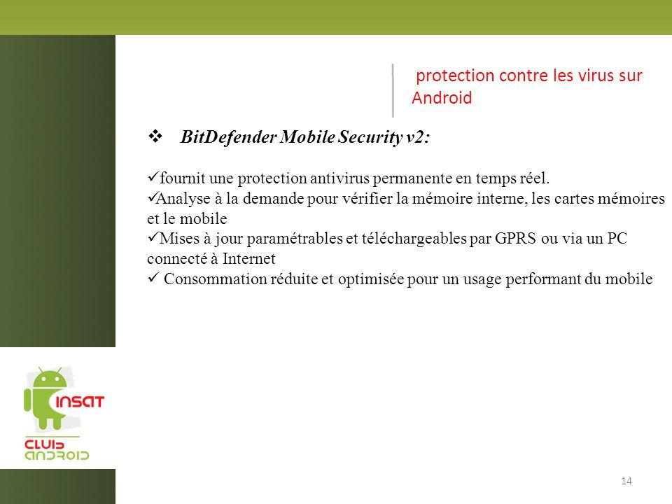 protection contre les virus sur Android BitDefender Mobile Security v2: fournit une protection antivirus permanente en temps réel.