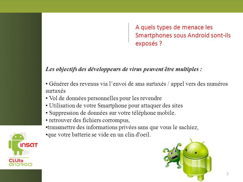 A quels types de menace les Smartphones sous Android sont-ils exposés .