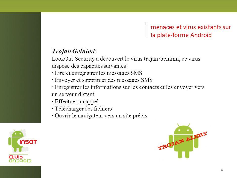 menaces et virus existants sur la plate-forme Android HippoSMS : Cette application ne se contente pas de voler le crédit de l utilisateur, mais opère en toute discrétion en supprimant toutes les notifications envoyées par les opérateurs et les messages de consultation de sa facture téléphonique, dissimulant ainsi les dépenses qu elle inflige à l utilisateur 5