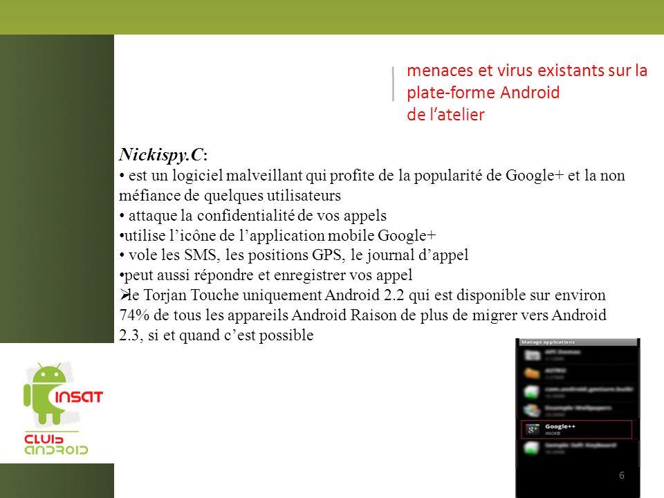 menaces et virus existants sur la plate-forme Android de latelier Nickispy.C : est un logiciel malveillant qui profite de la popularité de Google+ et la non méfiance de quelques utilisateurs attaque la confidentialité de vos appels utilise licône de lapplication mobile Google+ vole les SMS, les positions GPS, le journal dappel peut aussi répondre et enregistrer vos appel le Torjan Touche uniquement Android 2.2 qui est disponible sur environ 74% de tous les appareils Android Raison de plus de migrer vers Android 2.3, si et quand cest possible 6