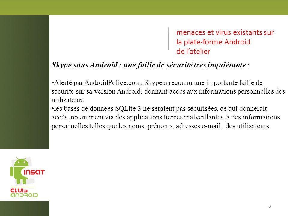 menaces et virus existants sur la plate-forme Android de latelier Skype sous Android : une faille de sécurité très inquiétante : Alerté par AndroidPolice.com, Skype a reconnu une importante faille de sécurité sur sa version Android, donnant accès aux informations personnelles des utilisateurs.