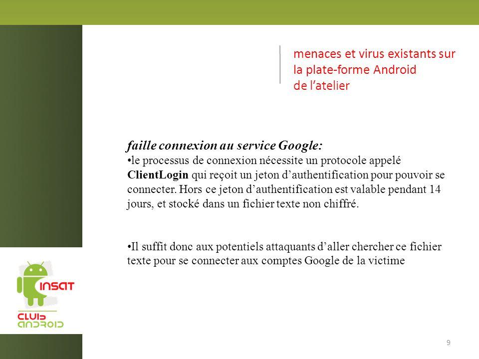 menaces et virus existants sur la plate-forme Android de latelier faille connexion au service Google: le processus de connexion nécessite un protocole appelé ClientLogin qui reçoit un jeton dauthentification pour pouvoir se connecter.