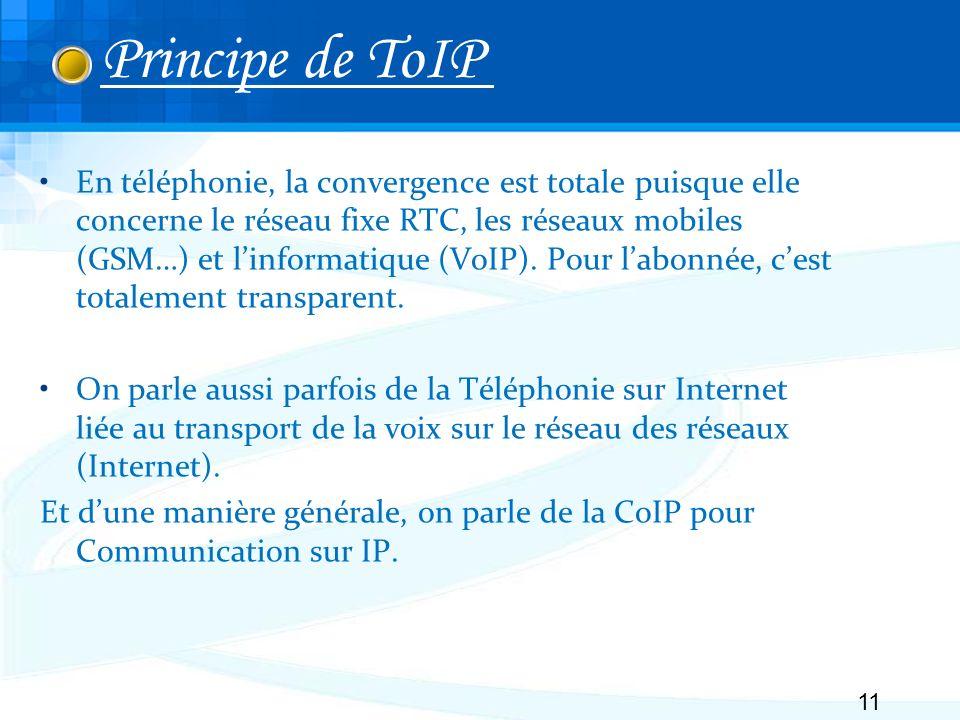 En téléphonie, la convergence est totale puisque elle concerne le réseau fixe RTC, les réseaux mobiles (GSM…) et linformatique (VoIP).