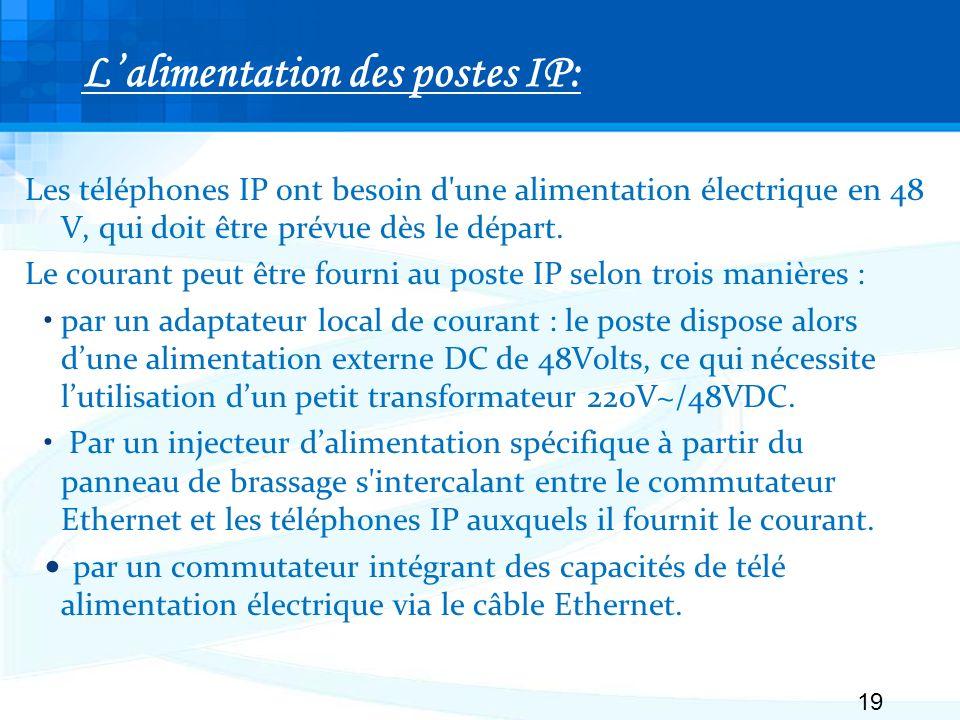 Lalimentation des postes IP: Les téléphones IP ont besoin d une alimentation électrique en 48 V, qui doit être prévue dès le départ.