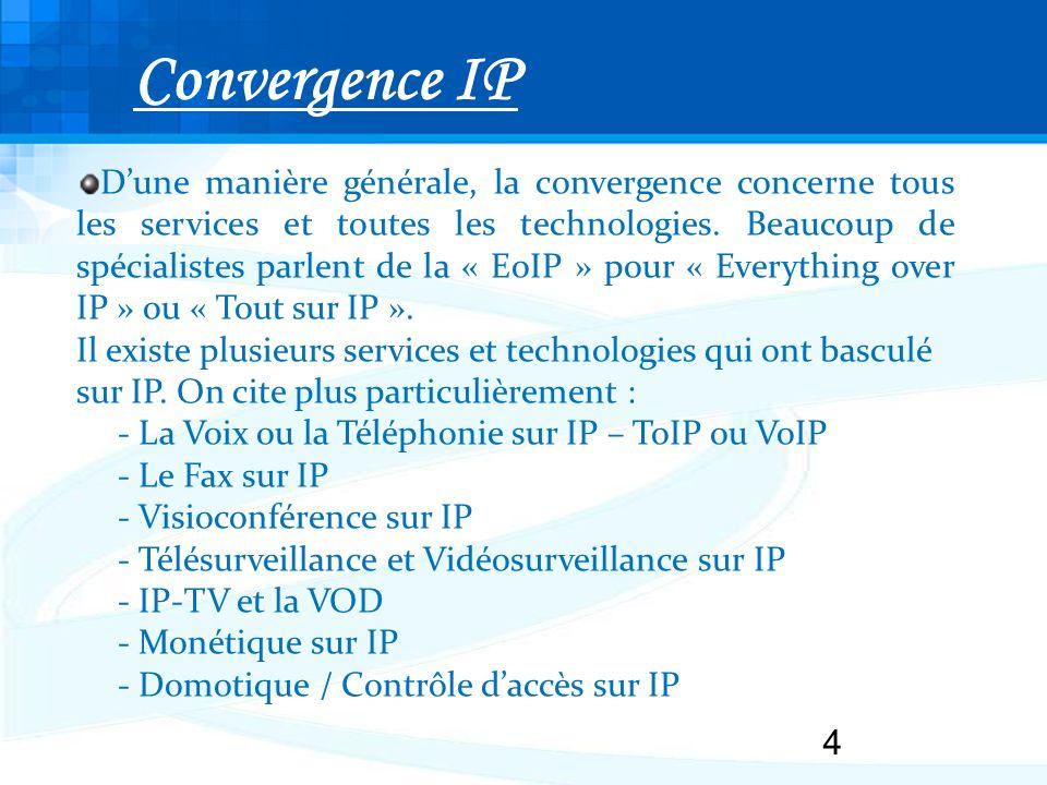 4 Dune manière générale, la convergence concerne tous les services et toutes les technologies.