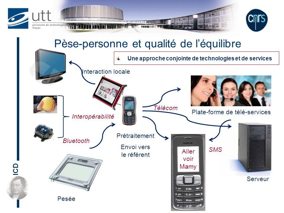 ICD Pèse-personne et qualité de léquilibre Une approche conjointe de technologies et de services Aller voir Mamy Plate-forme de télé-services Serveur