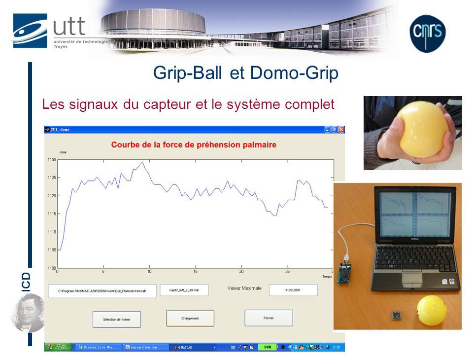 ICD Les signaux du capteur et le système complet Grip-Ball et Domo-Grip