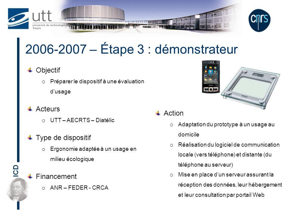 ICD Objectif o Préparer le dispositif à une évaluation dusage Acteurs o UTT – AECRTS – Diatélic Type de dispositif o Ergonomie adaptée à un usage en m