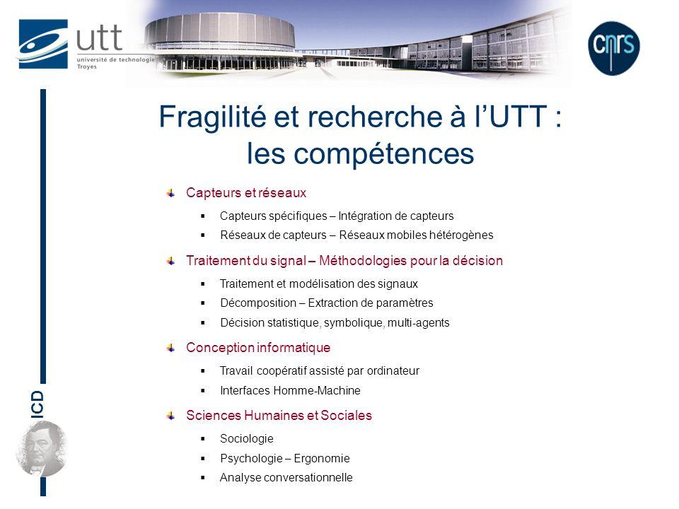 ICD Fragilité et recherche à lUTT : les compétences Capteurs et réseaux Capteurs spécifiques – Intégration de capteurs Réseaux de capteurs – Réseaux m