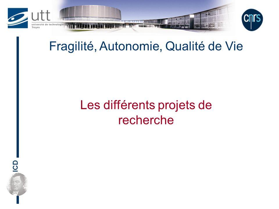 ICD Fragilité, Autonomie, Qualité de Vie Les différents projets de recherche