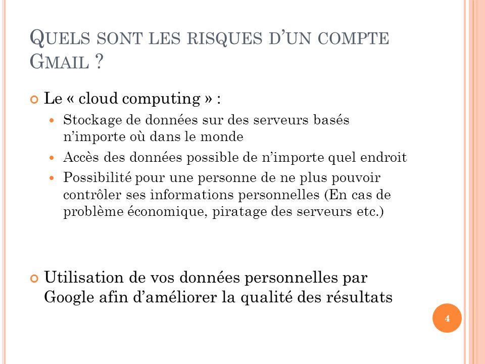 Q UELS SONT LES RISQUES D UN COMPTE G MAIL ? Le « cloud computing » : Stockage de données sur des serveurs basés nimporte où dans le monde Accès des d