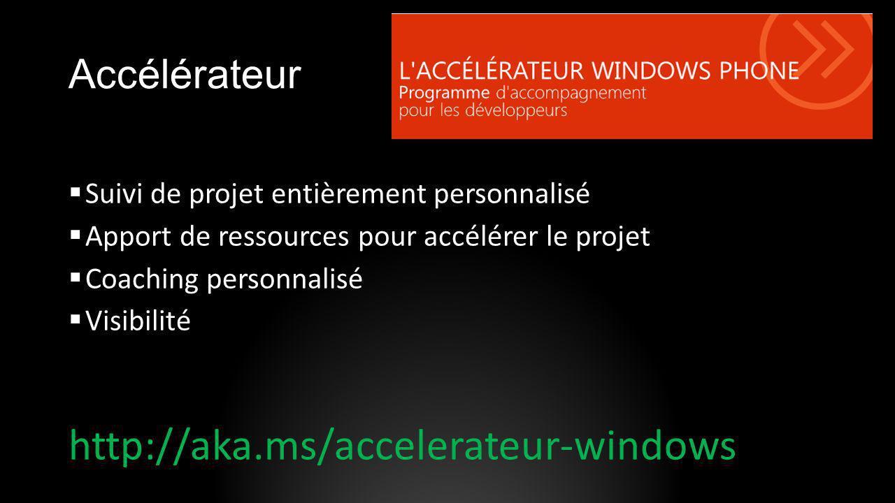 Accélérateur Suivi de projet entièrement personnalisé Apport de ressources pour accélérer le projet Coaching personnalisé Visibilité http://aka.ms/acc