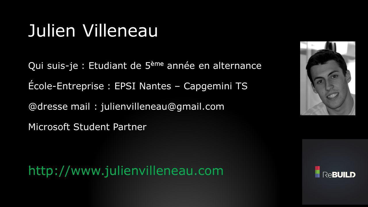 Julien Villeneau Qui suis-je : Etudiant de 5 ème année en alternance École-Entreprise : EPSI Nantes – Capgemini TS @dresse mail : julienvilleneau@gmai