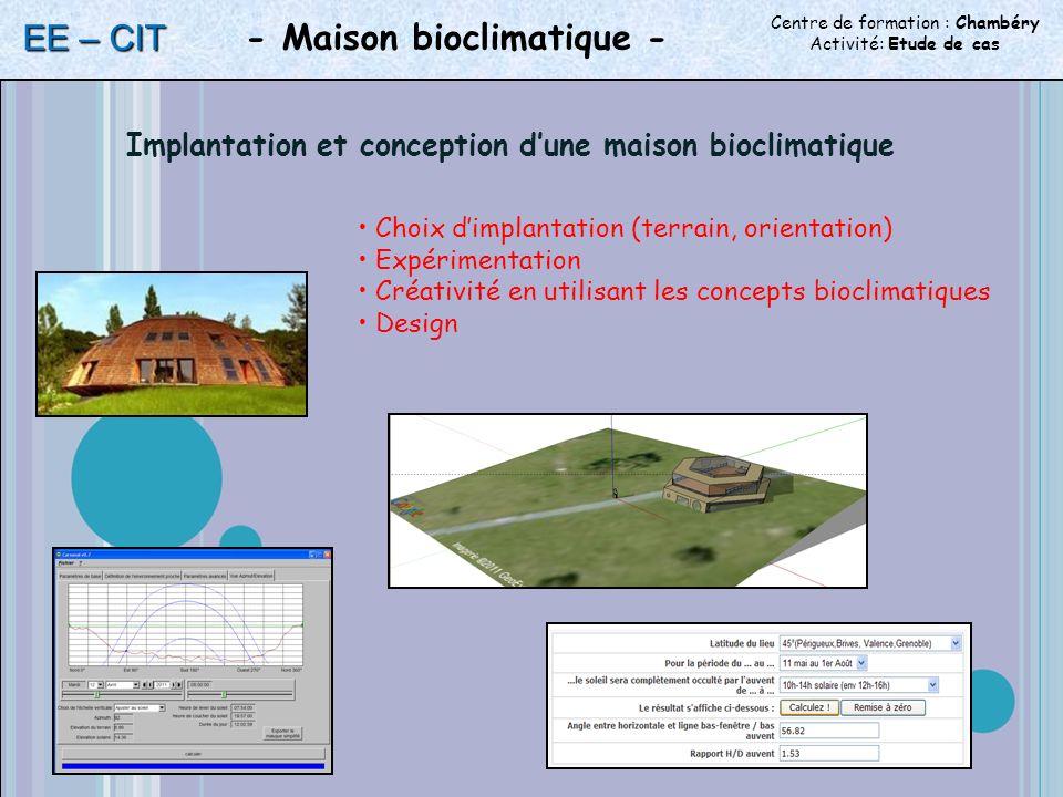 Centre de formation : Chambéry Activité: Etude de cas - Maison bioclimatique - EE – CIT Choix dimplantation (terrain, orientation) Expérimentation Créativité en utilisant les concepts bioclimatiques Design Implantation et conception dune maison bioclimatique