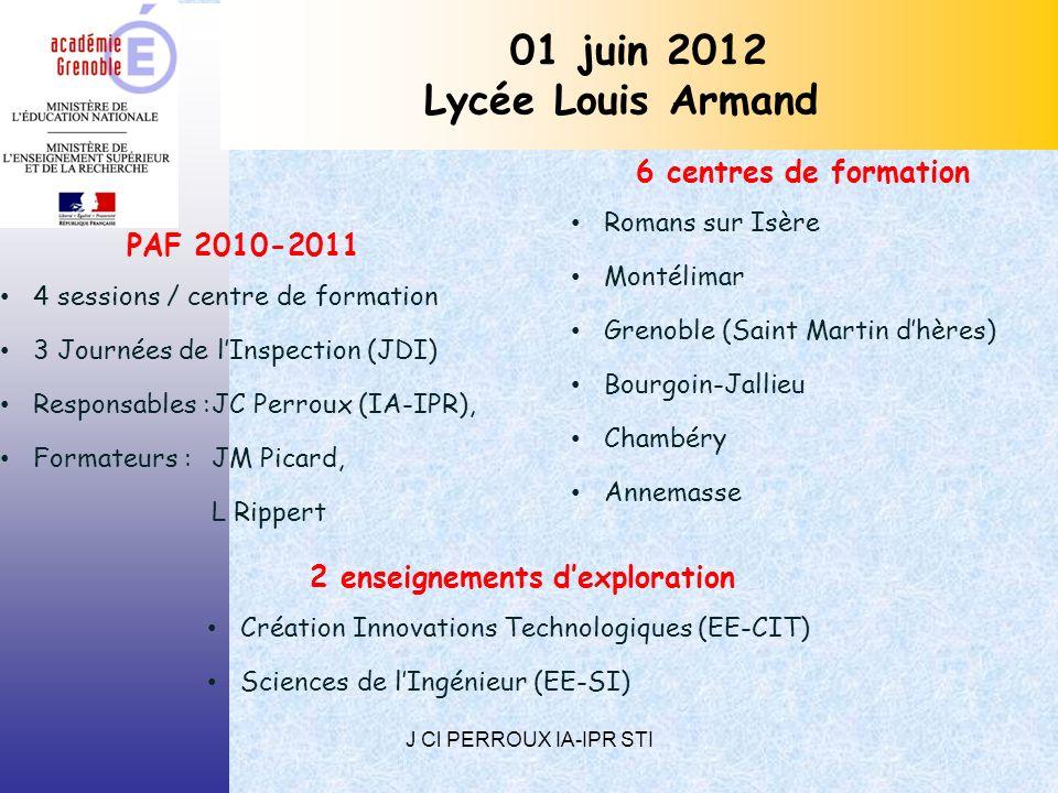 J Cl PERROUX IA-IPR STI 01 juin 2012 Lycée Louis Armand PAF 2010-2011 4 sessions / centre de formation 3 Journées de lInspection (JDI) Responsables :JC Perroux (IA-IPR), Formateurs : JM Picard, L Rippert 6 centres de formation Romans sur Isère Montélimar Grenoble (Saint Martin dhères) Bourgoin-Jallieu Chambéry Annemasse 2 enseignements dexploration Création Innovations Technologiques (EE-CIT) Sciences de lIngénieur (EE-SI)