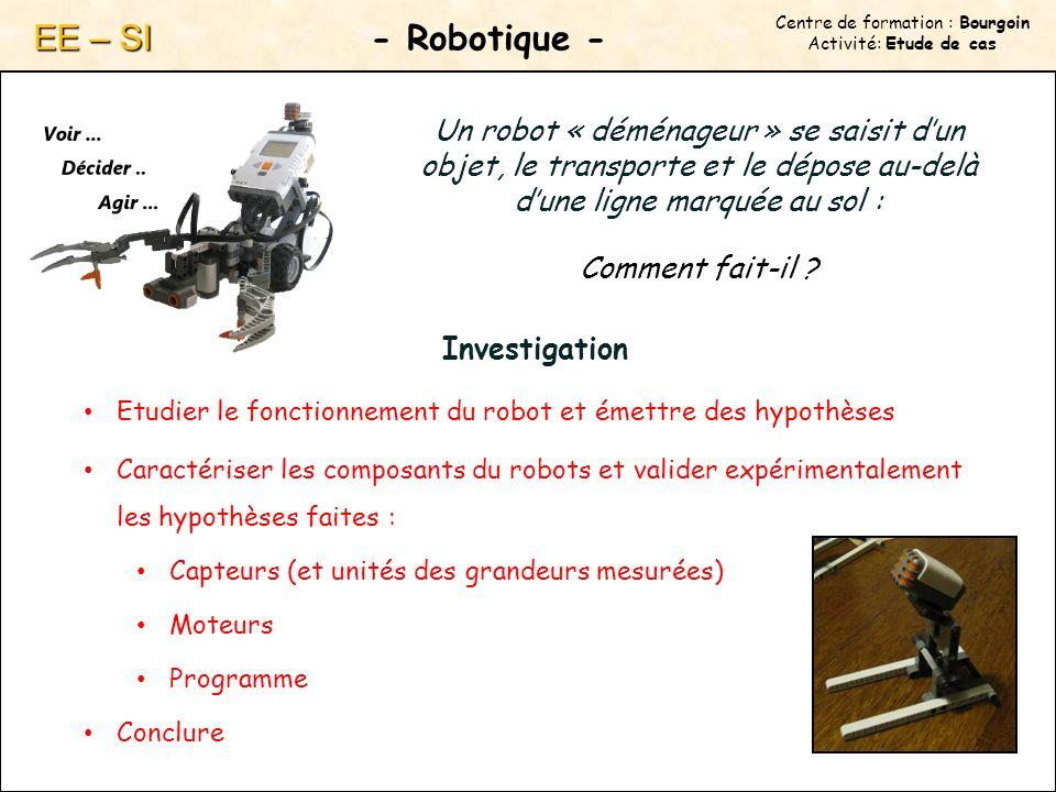 Centre de formation : Bourgoin Activité: Etude de cas - Robotique - EE – SI Un robot « déménageur » se saisit dun objet, le transporte et le dépose au-delà dune ligne marquée au sol : Comment fait-il .