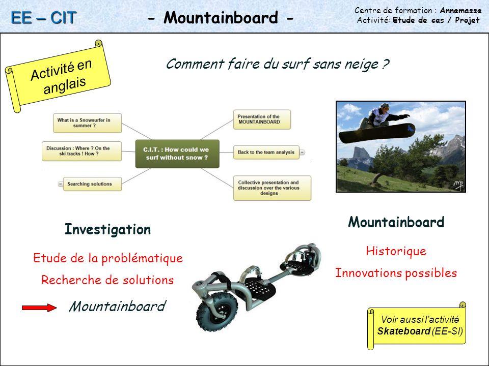Centre de formation : Annemasse Activité: Etude de cas / Projet - Mountainboard - EE – CIT Comment faire du surf sans neige .