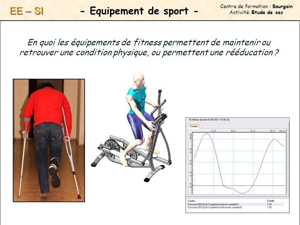 Centre de formation : Bourgoin Activité: Etude de cas - Equipement de sport - EE – SI En quoi les équipements de fitness permettent de maintenir ou retrouver une condition physique, ou permettent une rééducation ?