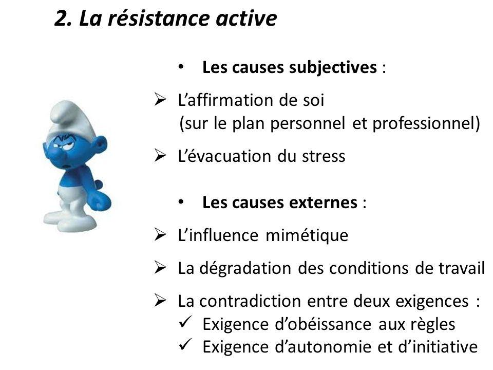 2. La résistance active Les causes subjectives : Laffirmation de soi (sur le plan personnel et professionnel) Lévacuation du stress Les causes externe
