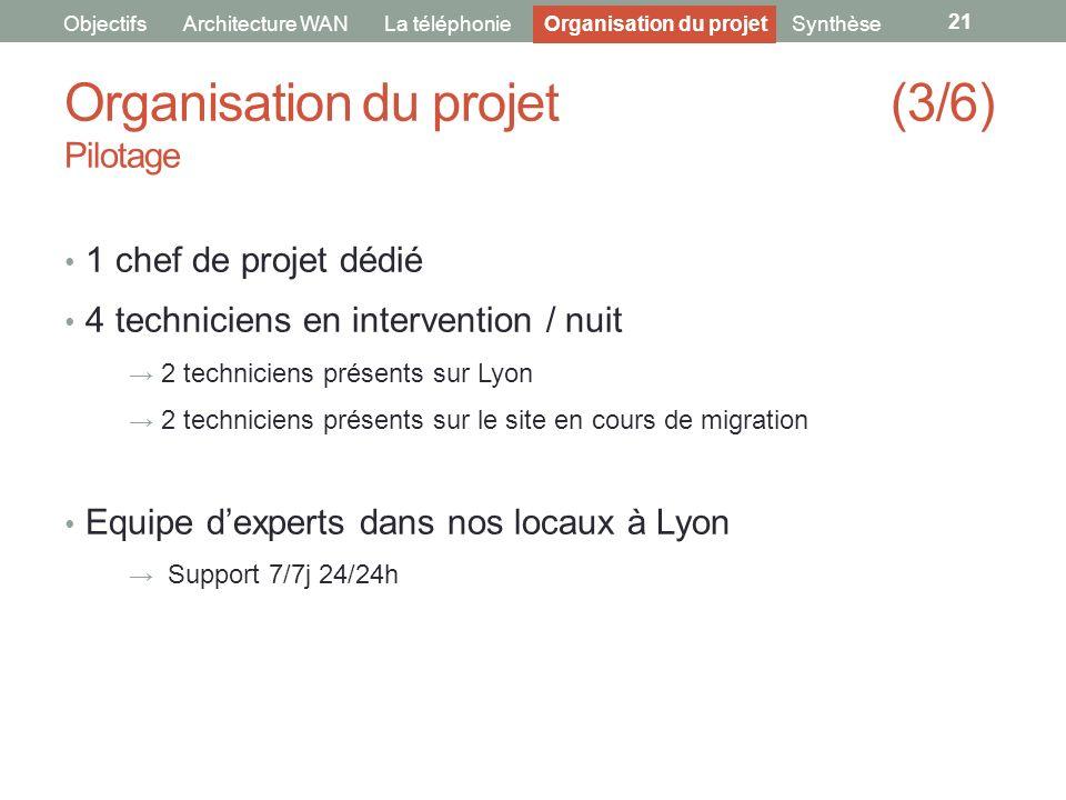 Organisation du projet (3/6) Pilotage 21 ObjectifsArchitecture WANLa téléphonieOrganisation du projet 1 chef de projet dédié 4 techniciens en interven