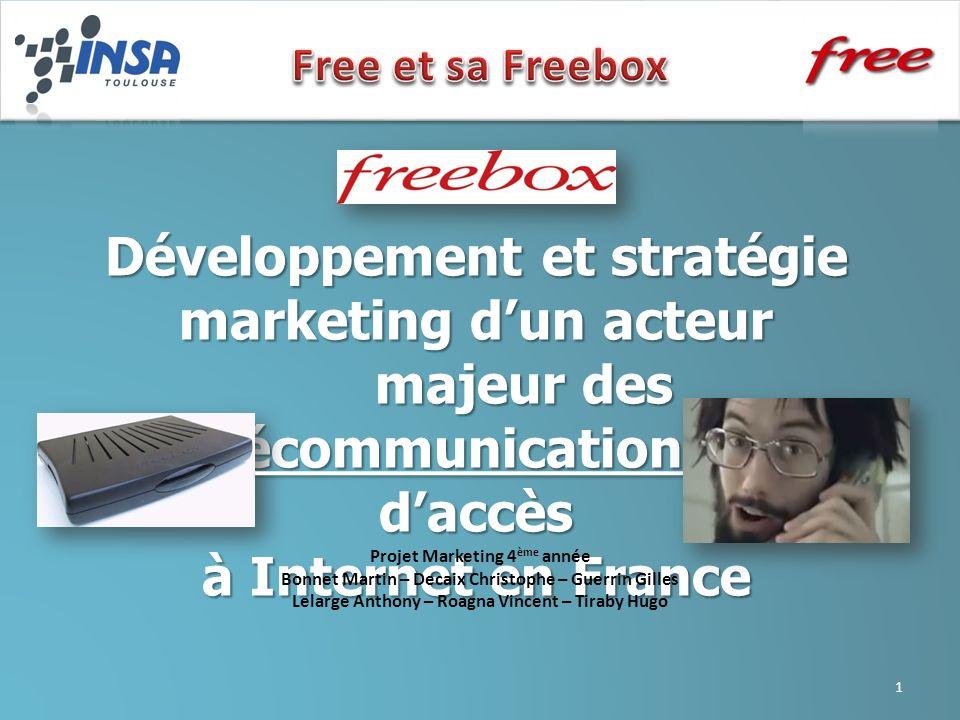 Développement et stratégie marketing dun acteur majeur des télécommunications et daccès à Internet en France Projet Marketing 4 ème année Bonnet Marti