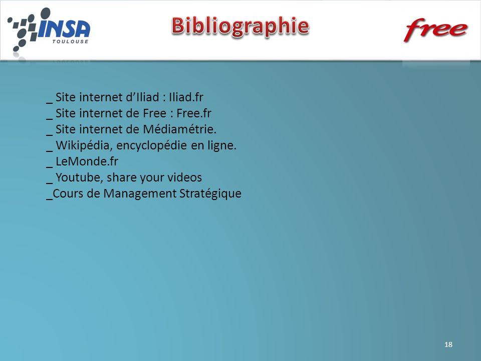 _ Site internet dIliad : Iliad.fr _ Site internet de Free : Free.fr _ Site internet de Médiamétrie. _ Wikipédia, encyclopédie en ligne. _ LeMonde.fr _