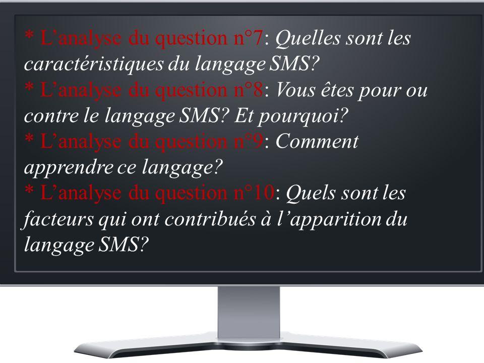 * Lanalyse du question n°7: Quelles sont les caractéristiques du langage SMS.