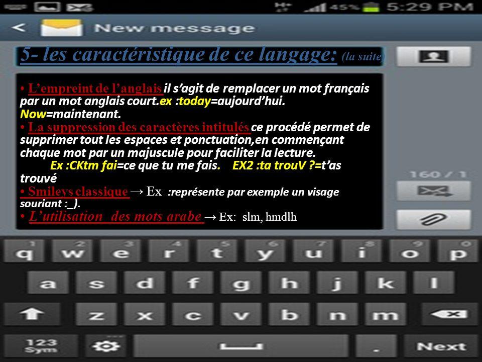 5- les caractéristique de ce langage: (la suite) Lempreint de langlais il sagit de remplacer un mot français par un mot anglais court.ex :today=aujourdhui.