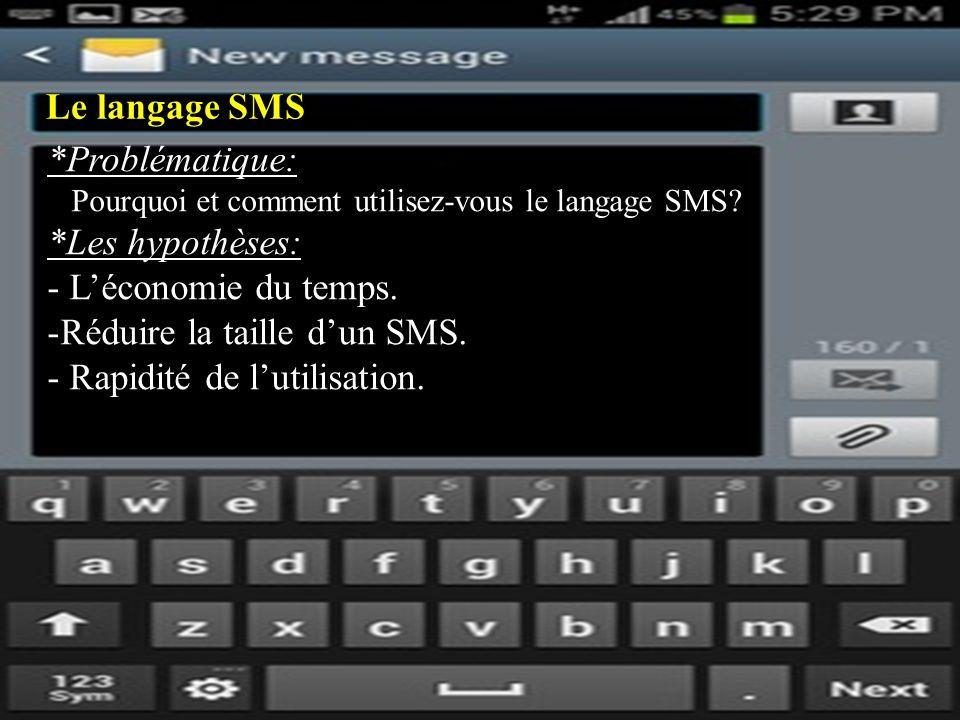 Le langage SMS *Problématique: Pourquoi et comment utilisez-vous le langage SMS.