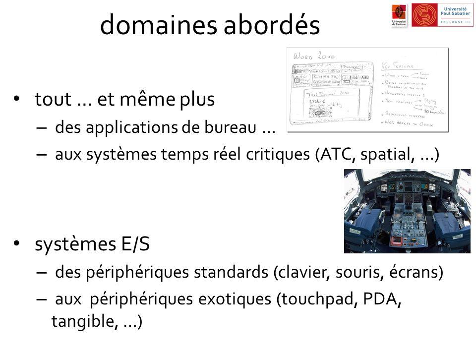 domaines abordés tout... et même plus – des applications de bureau … – aux systèmes temps réel critiques (ATC, spatial, …) systèmes E/S – des périphér