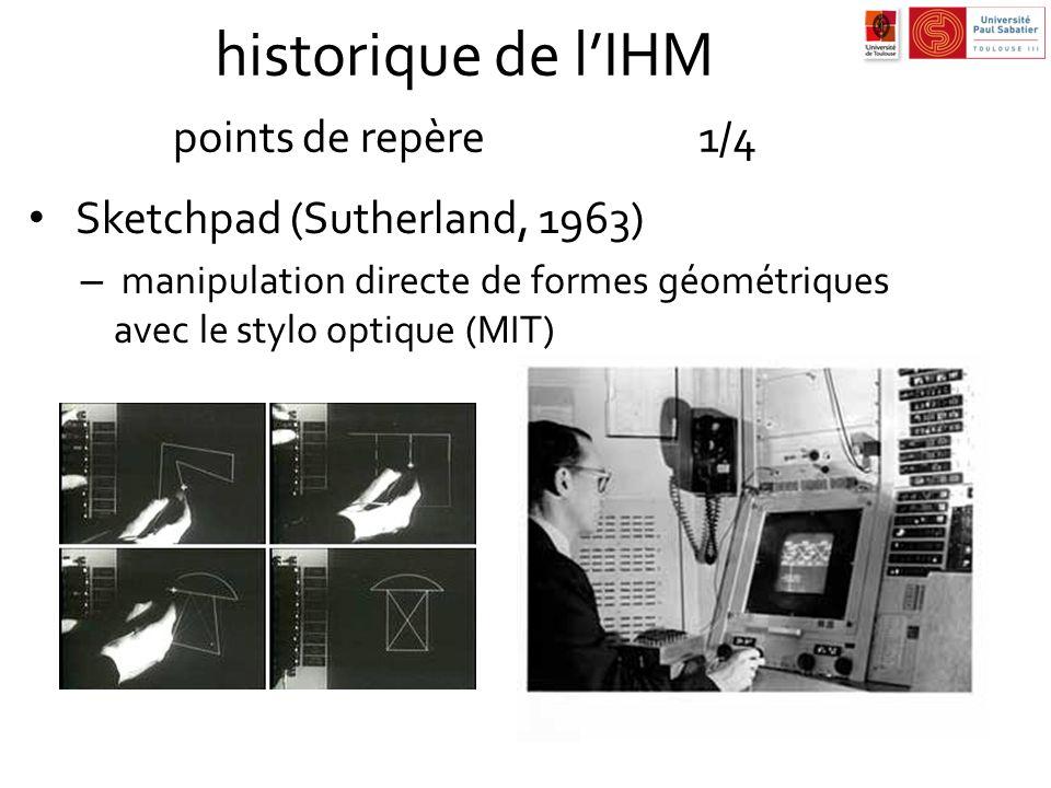historique de lIHM points de repère1/4 Sketchpad (Sutherland, 1963) – manipulation directe de formes géométriques avec le stylo optique (MIT)