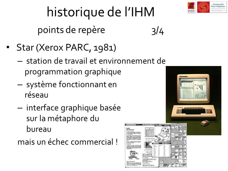 historique de lIHM points de repère3/4 Star (Xerox PARC, 1981) – station de travail et environnement de programmation graphique – système fonctionnant