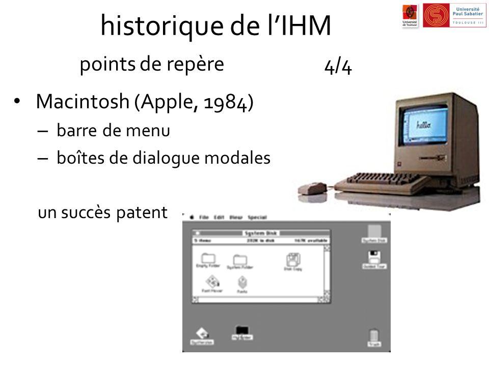 historique de lIHM points de repère4/4 Macintosh (Apple, 1984) – barre de menu – boîtes de dialogue modales un succès patent