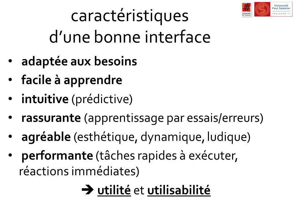 caractéristiques dune bonne interface adaptée aux besoins facile à apprendre intuitive (prédictive) rassurante (apprentissage par essais/erreurs) agré