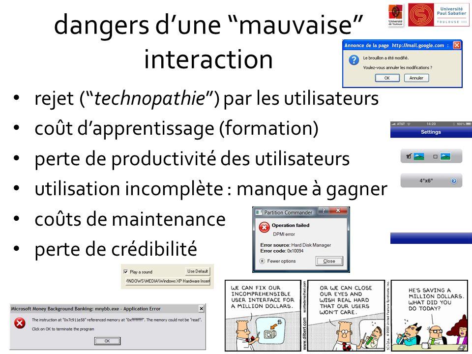 dangers dune mauvaise interaction rejet (technopathie) par les utilisateurs coût dapprentissage (formation) perte de productivité des utilisateurs uti