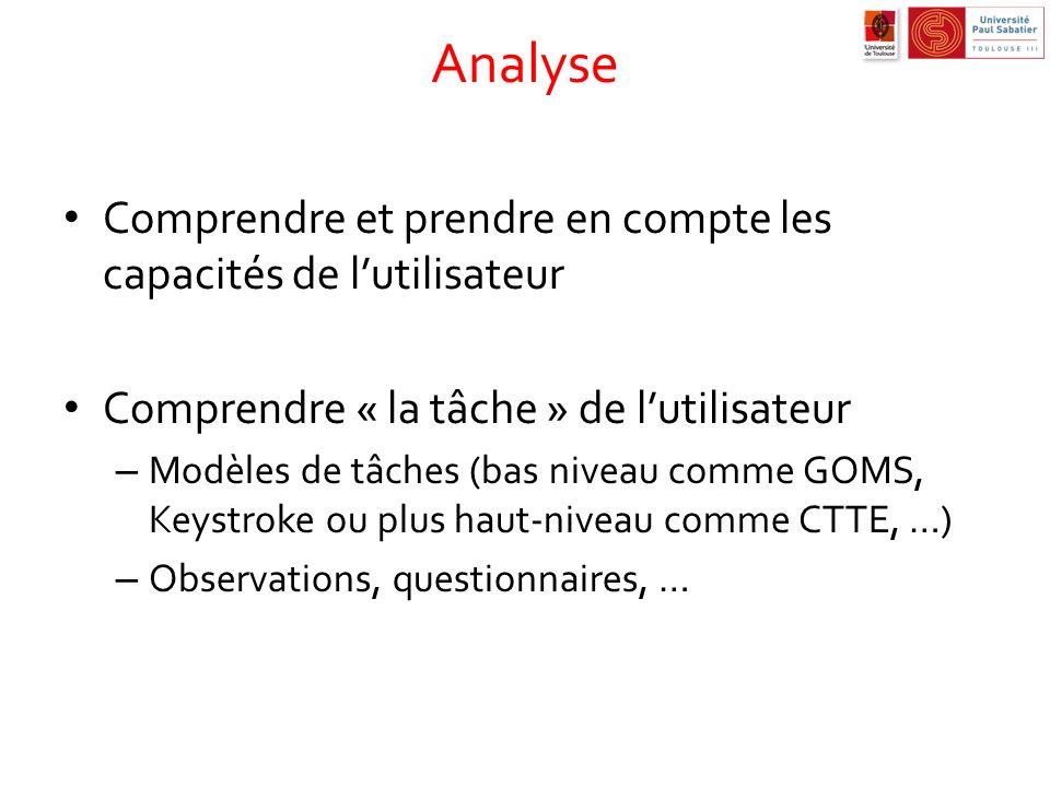 Analyse Comprendre et prendre en compte les capacités de lutilisateur Comprendre « la tâche » de lutilisateur – Modèles de tâches (bas niveau comme GO